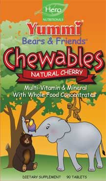 DROPPED: Hero Nutritionals Products - Yummi Bears & Frends Chewables Natural Cherry - 90 Tablets