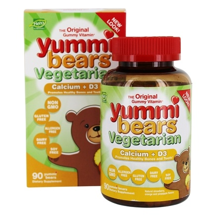 Hero Nutritional Products - Yummi Bears Vegetarian Calcium + Vitamin D3 Sour - 90 Gummies
