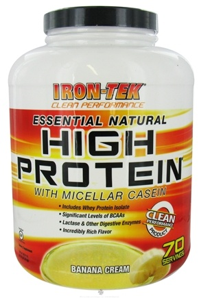 DROPPED: Iron Tek - Essential Natural High Protein with Micellar Casein Banana Cream - 5.6 lbs. CLEARANCE PRICED