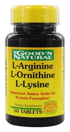 DROPPED: Good 'N Natural - L-Arginine L-Ornithine L-Lysine - 50 Tablets
