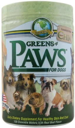 DROPPED: Greens Plus - Paws for Dogs with Chia for Healthy Skin and Coat - 120 Chewable Wafers CLEARANCE PRICED