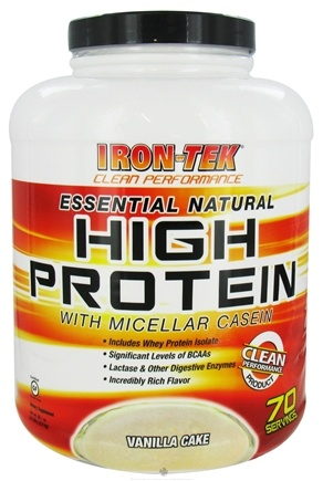 DROPPED: Iron Tek - Essential Natural High Protein with Micellar Casein Vanilla Cake - 5.5 lbs.