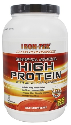 Iron Tek - Essential Natural High Protein with Micellar Casein Wild Strawberry - 2.2 lbs.