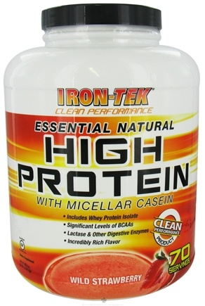 DROPPED: Iron Tek - Essential Natural High Protein with Micellar Casein Wild Strawberry - 5.6 lbs.