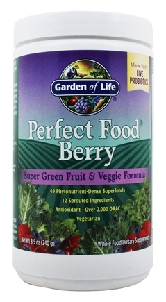 Garden of Life - Perfect Food Super Green Fruit & Veggie Formula Berry - 240 Grams