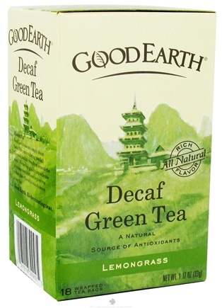 DROPPED: Good Earth Teas - Green Tea Lemongrass Decaffeinated - 18 Tea Bags CLEARANCE PRICED