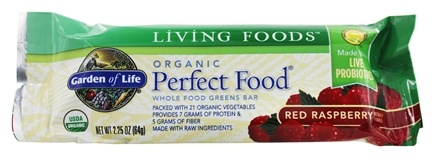 Garden of Life - Perfect Food Greens Bar Red Raspberry - 2.25 oz.