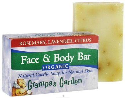 DROPPED: Grampa's Garden - Face and Body Bar Organic Castille Soap for Normal Skin Rosemary, Lavender, Citrus - 3.75 oz. CLEARANCE PRICED
