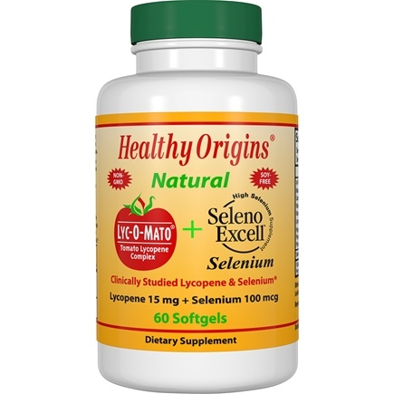 Healthy Origins - Lyc-O-Mato Tomato Lycopene Complex Plus Seleno Excell Selenium - 60 Softgels