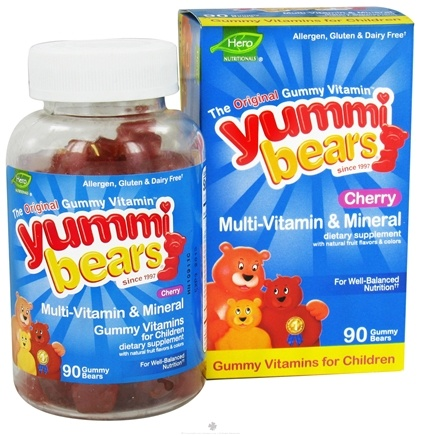 DROPPED: Hero Nutritional Products - Yummi Bears Multi-Vitamin & Mineral Cherry - 90 Gummies