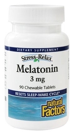 Natural Factors - Stress-Relax Melatonin 3 mg. - 90 Chewable Tablets