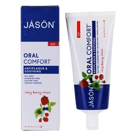 Jason Natural Products - Tooth Gel Oral Comfort All Natural Soothing CoQ10 Fluoride-Free Very Berry Mint - 4.2 oz.