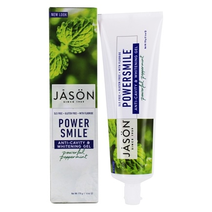 Jason Natural Products - Tooth Gel PowerSmile All Natural Whitening Anti-Cavity CoQ10 with Fluoride Powerful Peppermint - 6 oz.