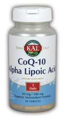 DROPPED: Kal - CoEnzyme Q-10 & Alpha Lipoic A - 10 Tablets