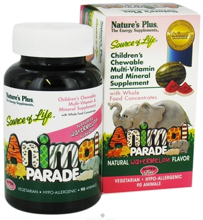 DROPPED: Nature's Plus - Animal Parade Children's Chewable Multi-Vitamin Watermelon - 90 Chewable Tablets