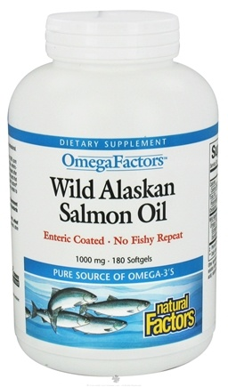DROPPED: Natural Factors - OmegaFactors Wild Alaskan Salmon Oil 1000 mg. - 180 Enteric Coated Softgels
