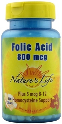 DROPPED: Nature's Life - Folic Acid 800 mcg. - 100 Tablets