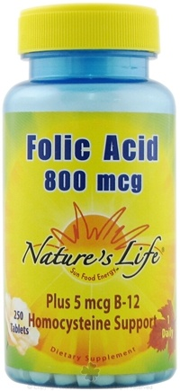 DROPPED: Nature's Life - Folic Acid 800 mcg. - 250 Tablets CLEARANCE PRICED