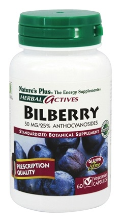 DROPPED: Nature's Plus - Herbal Actives Bilberry 50 mg. - 60 Vegetarian Capsules