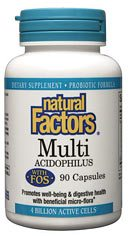 DROPPED: Natural Factors - MultiAcidophilus with FOS 4 Billion Active Cells Non-Dairy - 90 Capsules