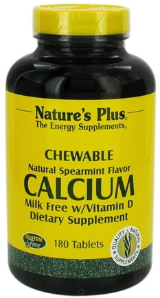DROPPED: Nature's Plus - Calcium with Vitamin D Milk-Free Chewables Spearmint - 180 Chewable Tablets