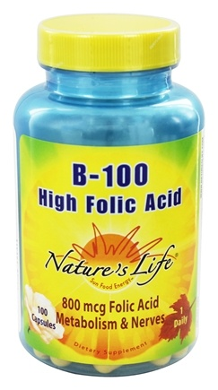 Nature's Life - B-100 High Folic Acid - 100 Capsules
