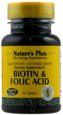 DROPPED: Nature's Plus - Biotin/Folic Acid S/R - 30 Tablets CLEARANCE PRICED