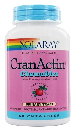 Solaray - CranActin Chewable Natural Cranberry/Strawberry Flavor 200 mg. - 60 Chewable Tablets