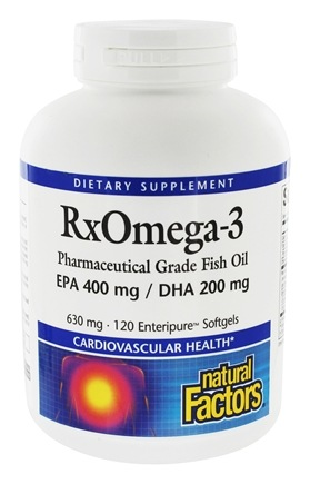 Natural Factors - RxOmega-3 Factors Pharmaceutical Grade EPA 400 mg/DHA 200 mg - 120 Softgels