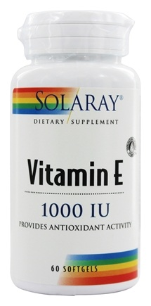 Solaray - Vitamin E 1000 IU - 60 Softgels Formerly E D-Alpha Tocopherol