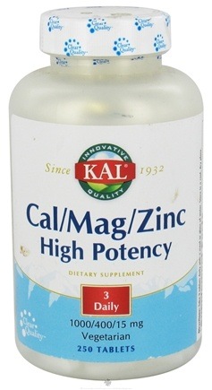 DROPPED: Kal - Cal/Mag/Zinc High Potency 1000/400/15 mg - 250 Tablets CLEARANCE PRICED
