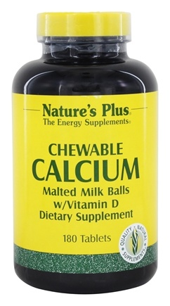 Nature's Plus - Chewable Calcium Malted Milk Balls with Vitamin D - 180 Chewable Tablets