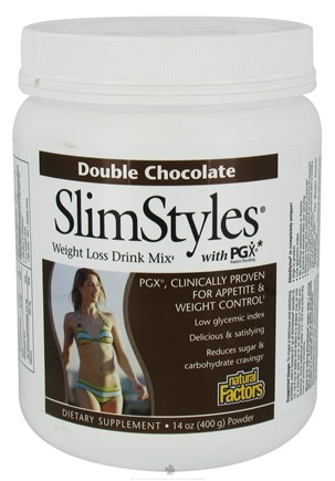 DROPPED: Natural Factors - SlimStyles Weight Loss Drink Mix with PGX Double Chocolate - 14 oz. CLEARANCE PRICED