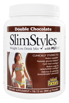 Natural Factors - SlimStyles Weight Loss Drink Mix with PGX Double Chocolate - 28 oz.