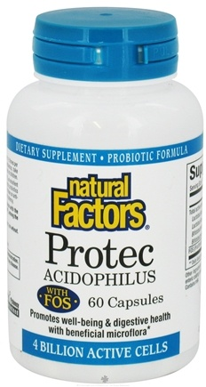 DROPPED: Natural Factors - Protec Acidophilus with FOS - 60 Capsules CLEARANCE PRICED