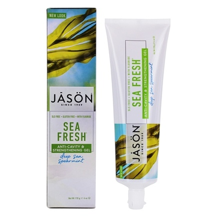 Jason Natural Products - Tooth Gel Sea Fresh All Natural Strengthening Anti-Cavity CoQ10 with Fluoride Deep Sea Spearmint - 6 oz.