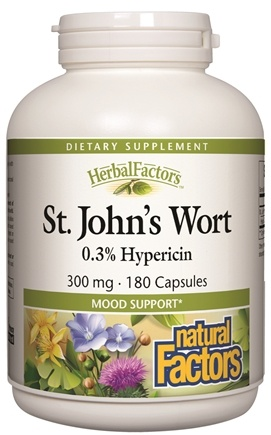 DROPPED: Natural Factors - Saint John's Wort Extract with Hypericin 300 mg. - 180 Capsules CLEARANCE PRICED