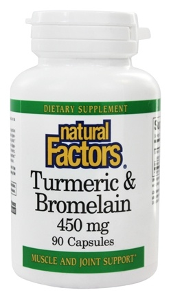 Natural Factors - Turmeric & Bromelain 450 mg. - 90 Capsules
