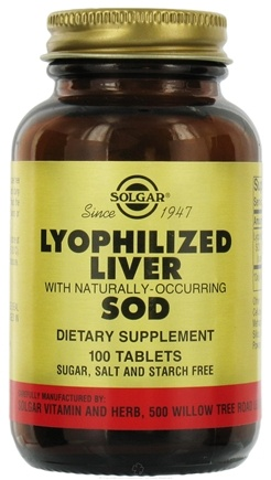 DROPPED: Solgar - Lyophilized Liver with Naturally Occurring SOD - 100 Tablets