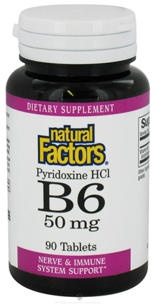 DROPPED: Natural Factors - Vitamin B6 Pyridoxine HCl 50 mg. - 90 Tablets CLEARANCE PRICED