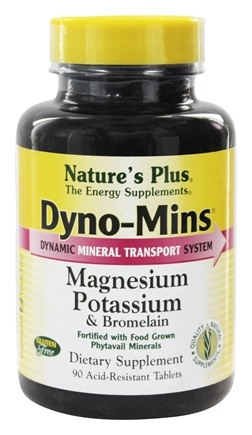 Nature's Plus - Dyno-Mins Magnesium, Potassium, Bromelain - 90 Tablets
