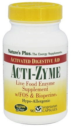 DROPPED: Nature's Plus - Acti-Zyme with Live Food Enzymes FOS & Bioperine - 90 Capsules