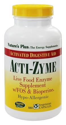 Nature's Plus - Acti-Zyme with Live Food Enzymes FOS & Bioperine - 180 Capsules