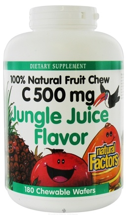 Natural Factors - 100% Natural Fruit Chew C Jungle Juice 500 mg. - 180 Chewable Wafers