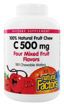 Natural Factors - 100% Natural Fruit Chew C Mixed Fruit Flavor 500 mg. - 180 Chewable Wafers
