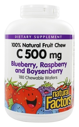 Natural Factors - 100% Natural Fruit Chew C Blue/Rasp/Boynsenberry 500 mg. - 180 Chewable Wafers