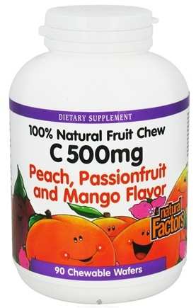 DROPPED: Natural Factors - 100% Natural Fruit Chew C Peach/Passionfruit/Mango 500 mg. - 90 Chewable Wafers CLEARANCE PRICED