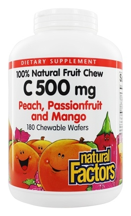 Natural Factors - 100% Natural Fruit Chew C Peach/Passionfruit/Mango 500 mg. - 180 Chewable Wafers