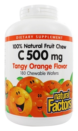 Natural Factors - 100% Natural Fruit Chew C Tangy Orange 500 mg. - 180 Chewable Wafers