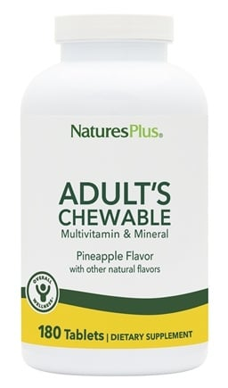 Nature's Plus - Adult's Chewable Multi-Vitamin & Mineral Natural Pineapple Flavor - 180 Chewable Tablets
